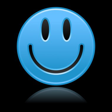Matted blue smiley faces on black
