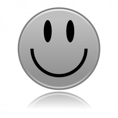 Matted gray smiley faces on white