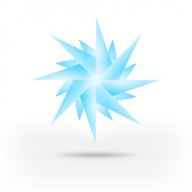 Origami paper snowflake. Blue shape with gray shadow on white background. This vector illustration saved in 10 eps