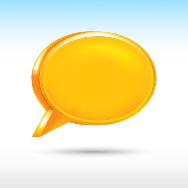 3d blank orange speech bubble shape with drop gray shadow on white background.