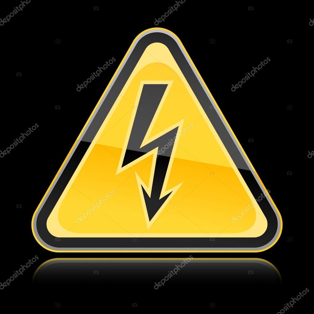 Yellow golden hazard warning sign with high voltage symbol on yellow golden hazard warning sign with high voltage symbol on black background stock vector buycottarizona