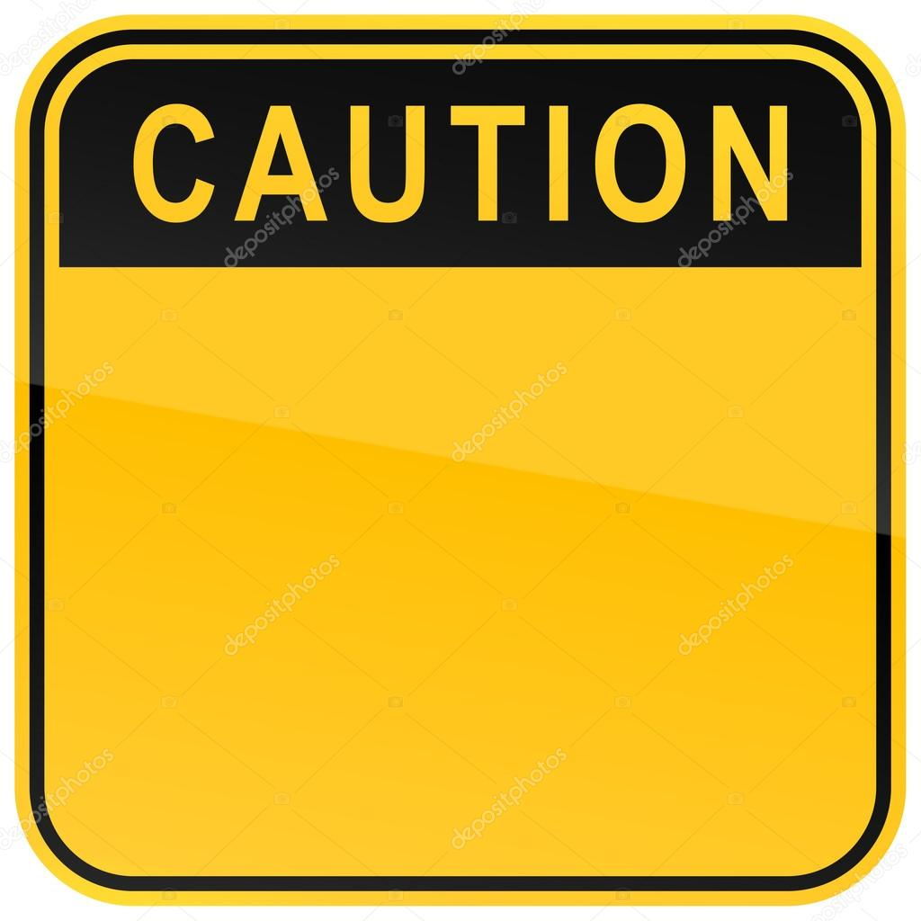 Yellow warning blank caution sign on a white background
