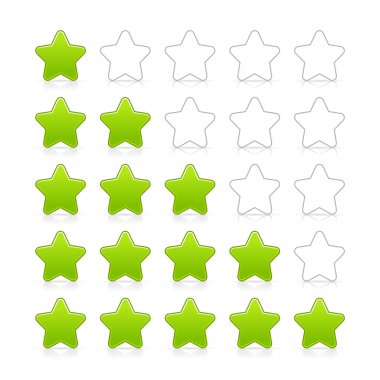 Five stars ratings web 2.0 button. Green and gray shapes with shadow and reflection on white