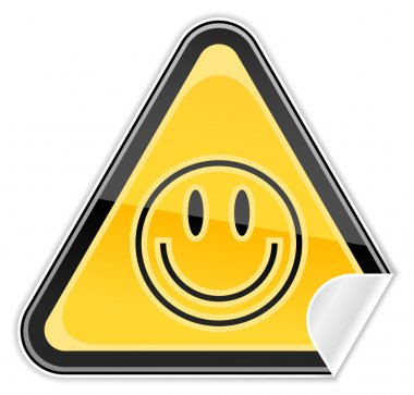 Sticker yellow hazard warning sign with smiley face symbol on white background