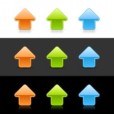 Glossy colored arrow up sign web 2.0 icons