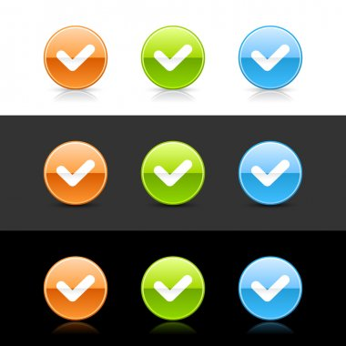 Glossy colored web 2.0 buttons with check sign
