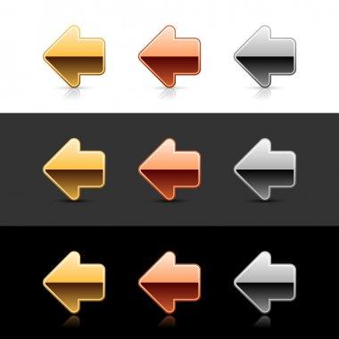 Metal arrow left icon web 2.0 buttons