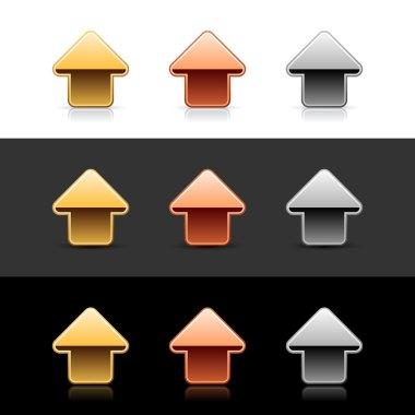 Luxury metal arrow up sign web 2.0 icon