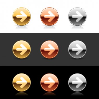 Metal web 2.0 buttons with arrow symbol