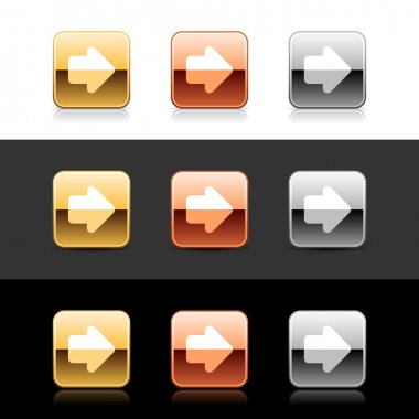 Metal web 2.0 buttons with arrow sign