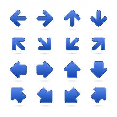 Blue arrow sign sticker web button.