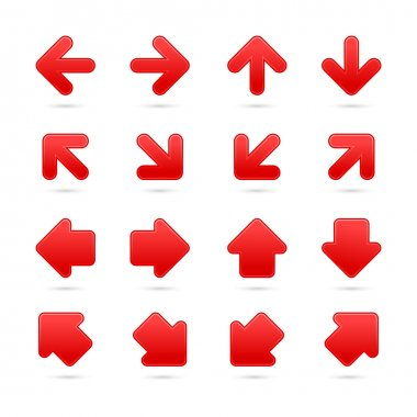 Red arrow sign sticker web button.