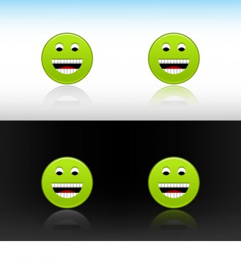 Web 2.0 button green smiley face icon. Variations color reflections on two different backgrounds