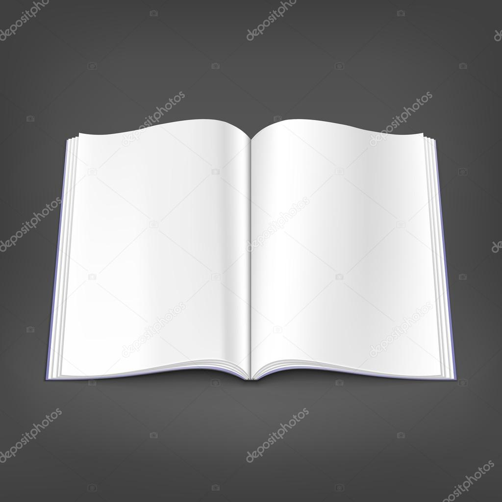 Opened white blank magazine spread