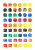 Photo Watercolor colored blank rounded square shapes web buttons on white background