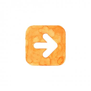 Arrow icon orange button with sign. Isolated rounded square shape on white background created in watercolor handmade technique. Colored web design element UI user interface