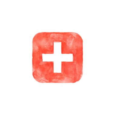 Plus icon red button with medical sign