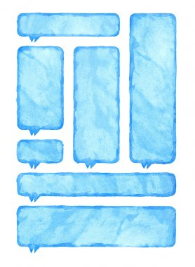 Blue watercolor blank rounded rectangle shape speech bubble