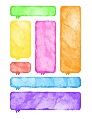Multicolored watercolor blank rounded rectangle shape speech bubble