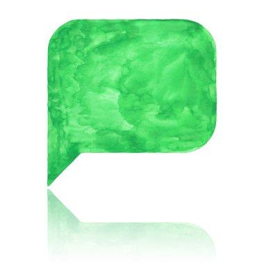 Green watercolor blank speech bubble