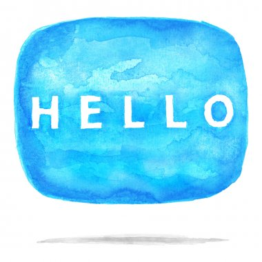 Blue watercolor speech bubble dialog with text HELLO.