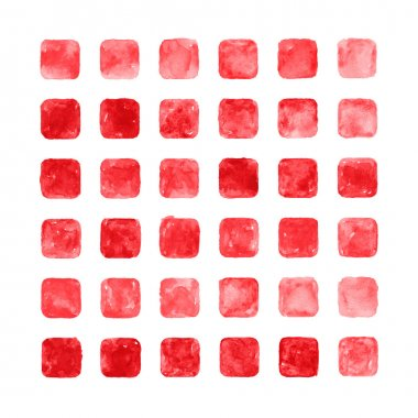 Red color watercolor blank rounded square shapes