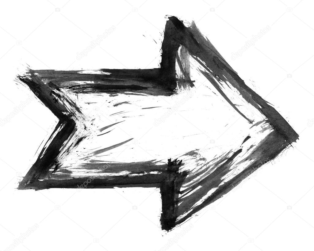 black ink sketch arrow isolated on white background created paint brush stroke in watercolor vector paint brush stroke vector paint brush stroke