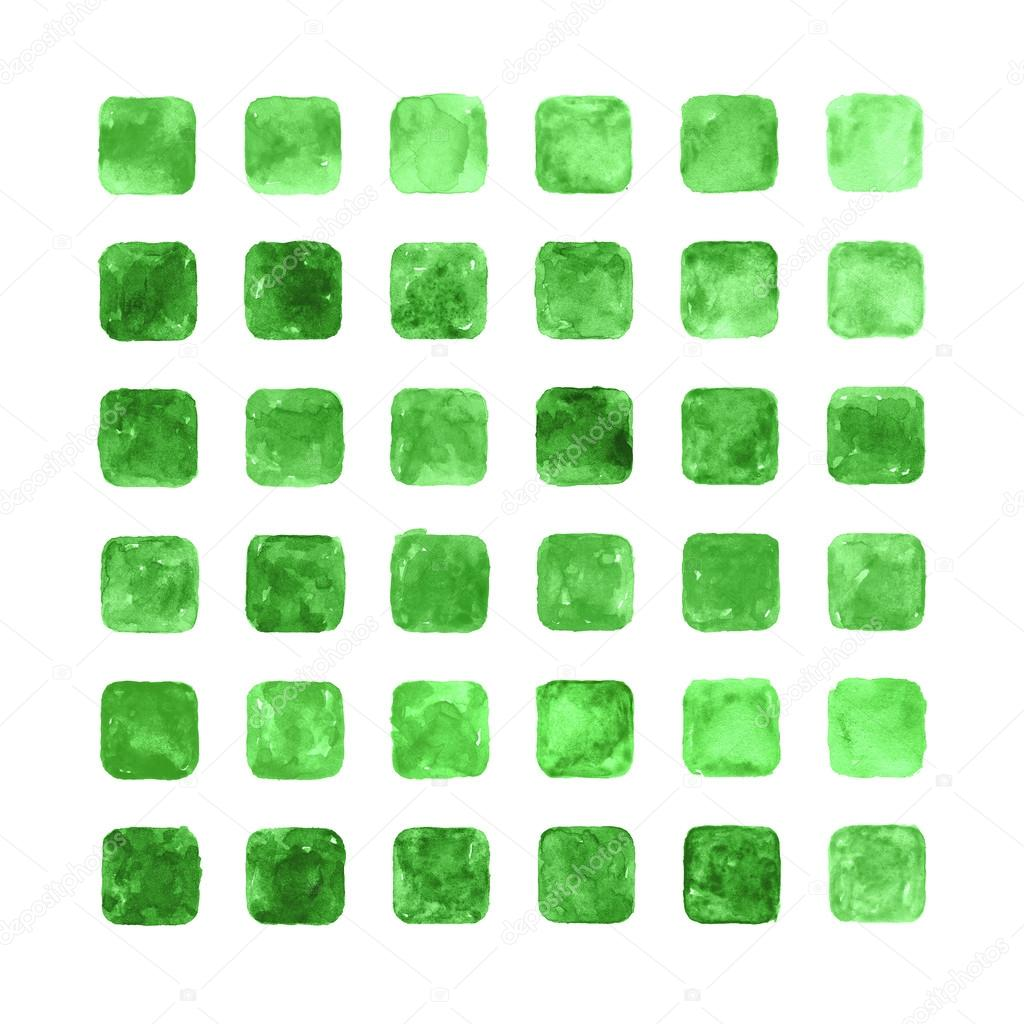 Green color watercolor blank rounded square shapes — Stock Photo ...