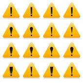 Sárga figyelmeztető jel a felkiáltójel szimbólum. Lekerekített háromszög alakú fehér háttér szín tükörképe. 10 eps