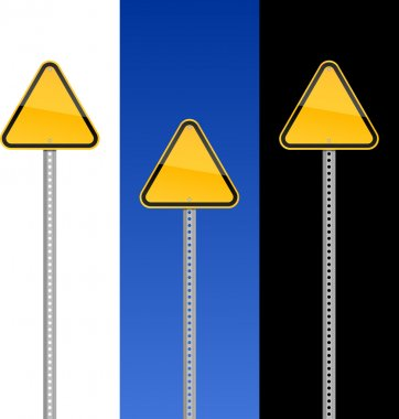 Empty hazard yellow warning signs with metal pole on white, blue sky and black