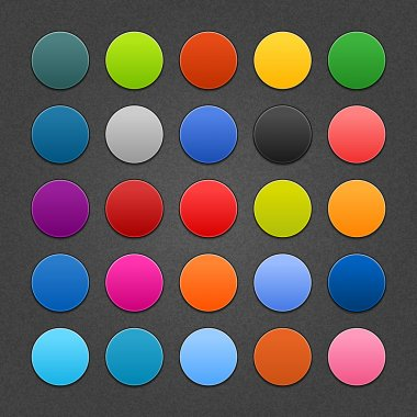 25 round blank web button. Satin colored shapes with shadow on dark gray background with noise texture effect. This vector saved 10 eps.