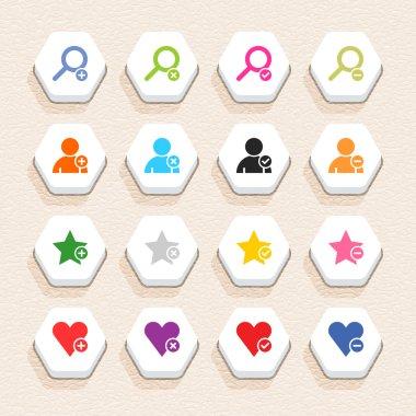 16 addition sign icon set