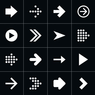 16 arrow pictogram white icon set