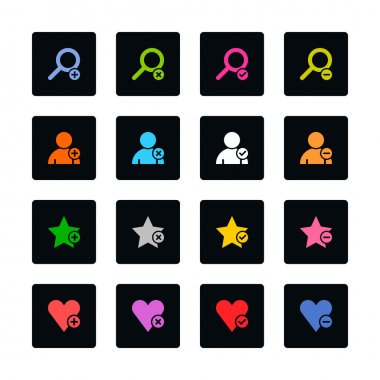 Loupe, user profile, star favorite, heart bookmark icon with plus, delete, check mark and minus sign. Color on black. 16 rounded square web internet button. Vector illustration clip art vector