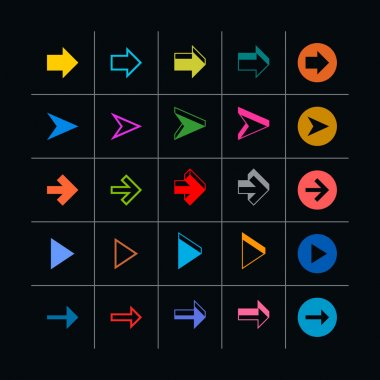 25 arrow sign icon set.