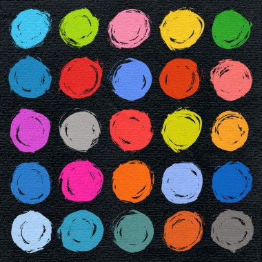 25 color circle form brush stroke