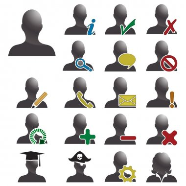 Set of 19 user icons for database management, human resources, software interface and many more. All isolated on white. clip art vector