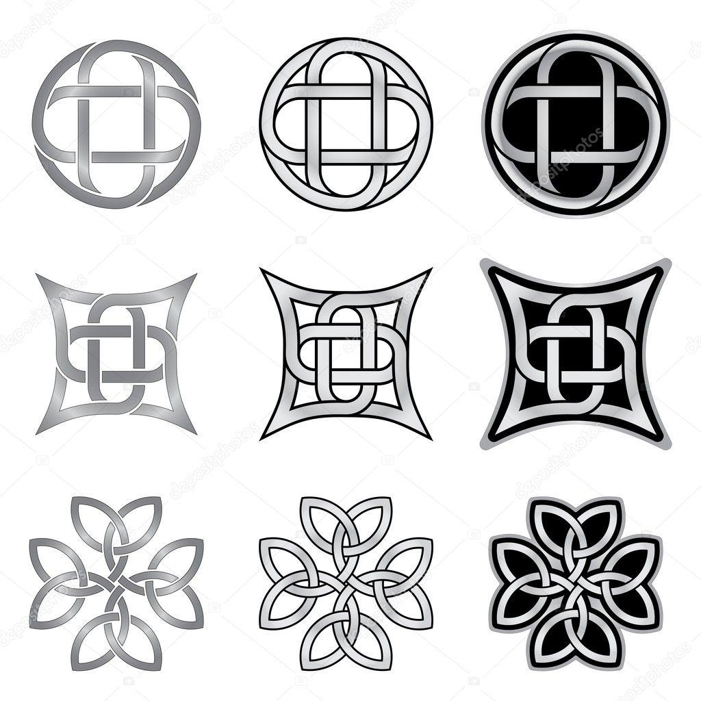 Colección de patrones de nudo celta — Vector de stock © infografx ...