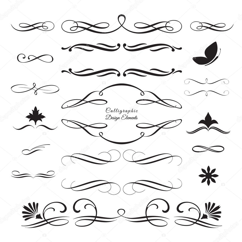 Collection of arabesque and calligraphic decorative elements 3