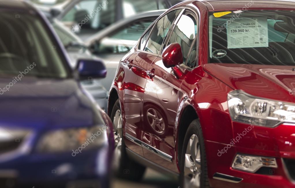 Cars in showroom