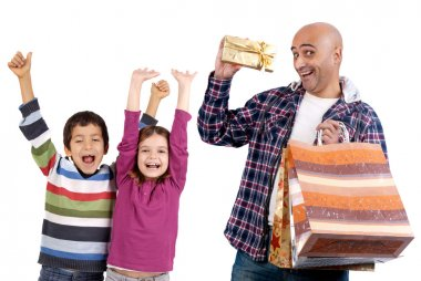 Adult man shopping christmas presents to kids