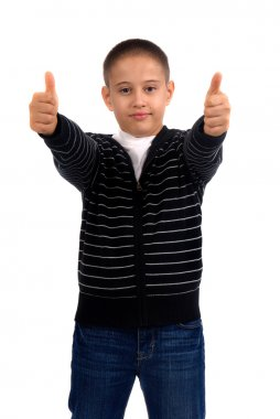 boy isolated in white and showing good sign