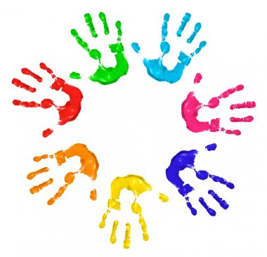 Painted hands isolated in white stock vector