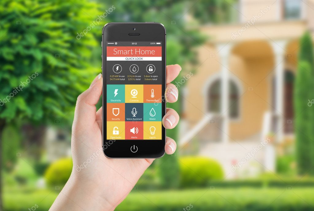 Black mobile smart phone with smart home application icons on th