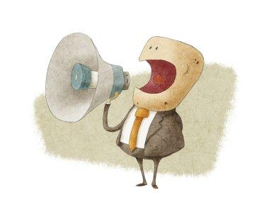 businessman shouting into megaphone
