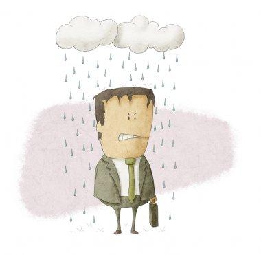 businessman under rain clouds