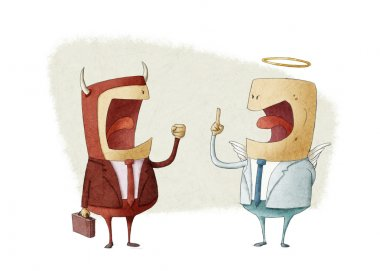 discussion between angel businessman and demon businessman