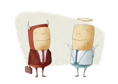 evil businessman and angel businessman