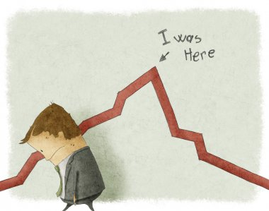 Illustration of sad businessman