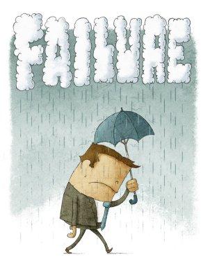 Depressed Businessman under umbrella